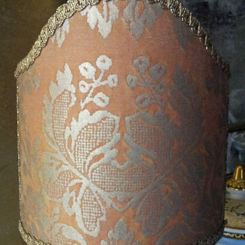 Clip-On Shield Shade Fortuny Fabric Silvery Gold & Peach Solimena Pattern Half Lampshade - Handmade in Italy