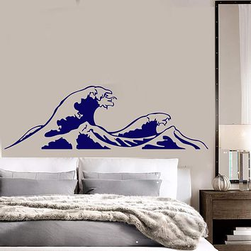 Wall Vinyl Sticker Ocean Waves Mountains Sea Surfing Beach House Decor Unique Gift (ig3070)