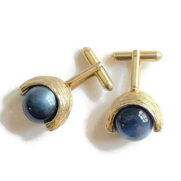 Iridescent Blue Glass Ball Cuff Links In Gold Tone Textured Metal, Men's Jewelry
