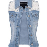 Crochet Top Denim Vest With Pockets - Medium Sandblast