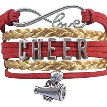 Girls Cheer Infinity Bracelet- Red & Gold