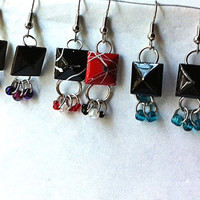 upcycled studded grommet earrings-you pick color