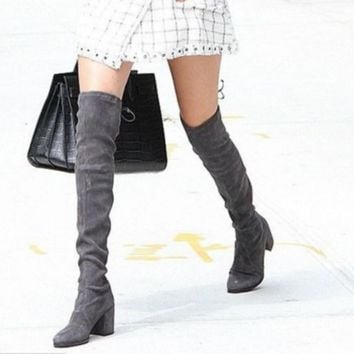 Winter round knee with thick bow boots