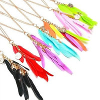 Gold Chain and Feathers Assorted Color Necklace and Earring Sets