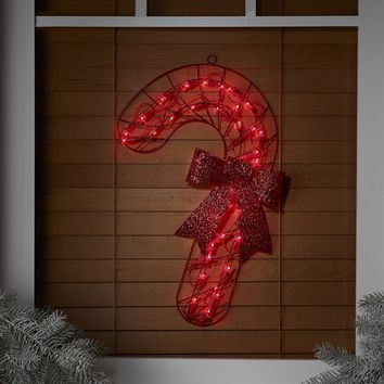"19"" Lighted Red Candy Cane with Bow Christmas Window or Wall Silhouette Decoration"