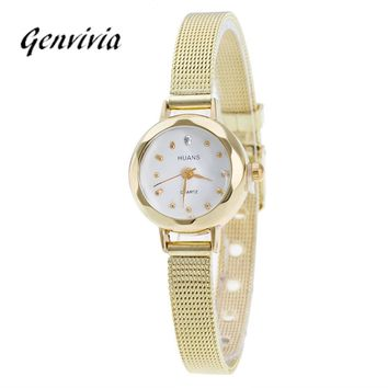 High Quality GENVIVIA 2017 Women Ladies Stainless Steel Mesh Band Waterproof Wrist Watch