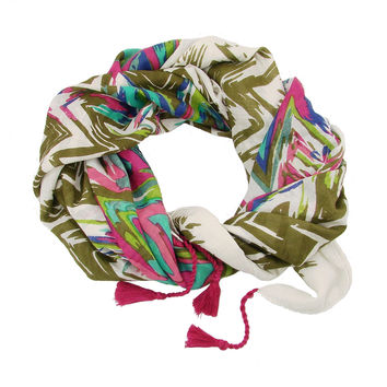 Flamestitch Scarf - olive - WorldFinds (S)