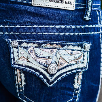 GRACE IN L.A. SHIMMERING EDGES BOOTCUT JEANS