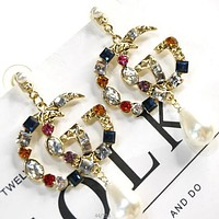 GUCCI Popular Women Vintage Shiny Colorful Diamond Earrings Accessories Jewelry