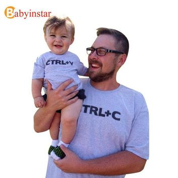 VONEGQ Babyinstar Father & Me Matching Clothe Cute Print ' Ctrl C + Ctrl V ' Pattern T-shirt  Family Wear 2017 Summer Family Look