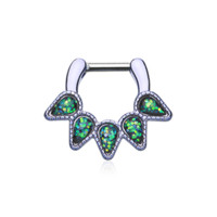 Colorline Green Opal Quinary Spear Septum Clicker 14ga 16ga Body Jewelry Nose Ring