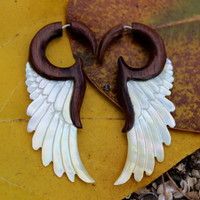 Fake Gauge Earrings ,Tribal Style, Mother of pearl  gold shell hand made faux