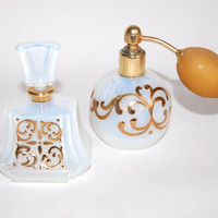 French Opaline Art Glass Perfume Bottles Vintage Handcrafted Art Nouveau Art Deco Style Gilded Vessels Bath & Beauty Collectibles