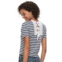Juniors' American Rag Crochet Back Striped Crop Top | null