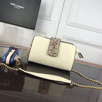 DCCK 1330 Saint Laurent Paris YSL Classic Ostrich pattern with deer pattern Fashion Shoulder bag white
