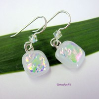 Rainbows on Snow Dichroic Fused Glass Cabochon Dangle Earrings White