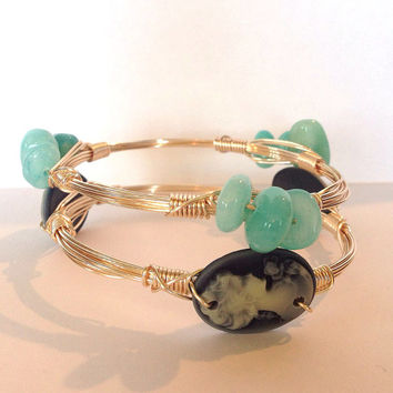 SET of TWO gold wire wrap bracelets: cameo and mint stone