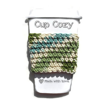Crochet Cup Cozy, Blue, Green and Ecru Cup Cozie, Bottle Cozie, Travel Mug Sleeve, Can Koozie, Cool Cozie, Coffee Lover Gift, Tea Lover Gift