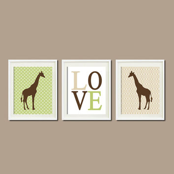 GIRAFFE Theme NURSERY Wall ART Green Tan Brown Safari Love Set of 3 Prints Baby Boy Play Room Decor Picture Kids Artwork Boy Bedding