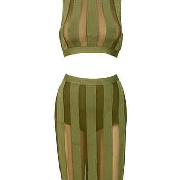 Caitlin Olive Turtleneck Two Piece Mesh Detail Bandage Dress