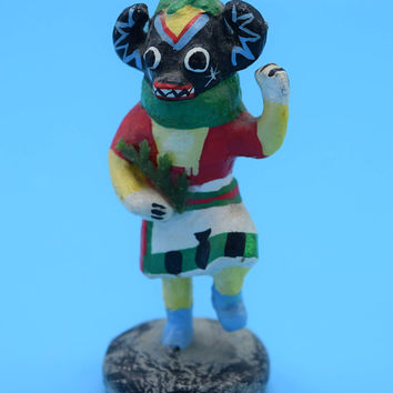 Miniature Native American Totem Figurine Vintage American Indian Folk Art Figurine Bear Totem Paper Mache Wood Painted Statue Gift for Him