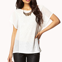 Slub Knit-Paneled Chiffon Top