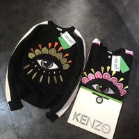 ONETOW KENZO Women Fashion Eye Embroidery Top Sweater Hoodie