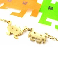 Atari Space Invaders Arcade Game Inspired Alien Pixel Charm Necklace in Gold | redditgifts