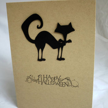Happy Halloween Card Black Cat Card Hand Made Card Handmade Halloween Card Hand Stamped Card Handstamped Card