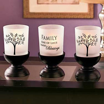 Family Tree Etched Candleholder Frosted White Glass 3 Piece Set