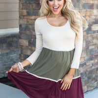 When I Look at You Long Sleeve Color Block Dress