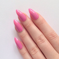 Pink Stiletto nails, Nail designs, Nail art, Nails, Stiletto nails, Acrylic nails, Pointy nails, Fake nails