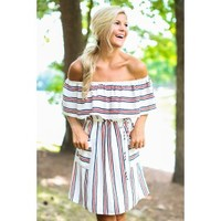 American Love Story White Print Off-The-Shoulder Dress