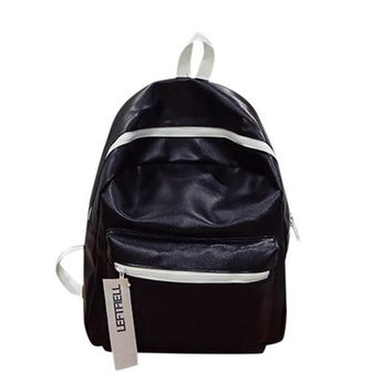 Girls bookbag MOLAVE Backpack Girls backpack Solid backpacks female Zipper Fashion Leather School Rucksack Bag Backpacks Bookbag May7 AT_52_3