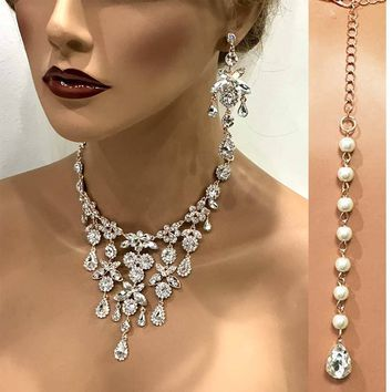 Wedding jewelry set,Bridal necklace earrings, bridal jewelry set, Bridal back drop bib necklace, crystal pearl bridal statement jewelry set