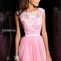 Carrie Bradshaw Prom Dress -  Sherri Hill 21167  Cap Sleeves Short