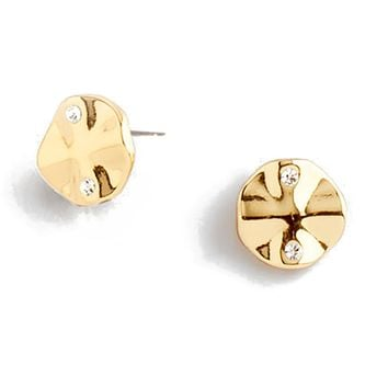 Delicate gold plated stud earrings with crystal stones