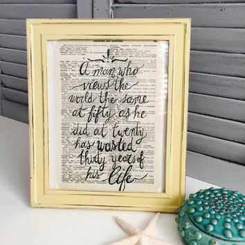 Muhammad Ali Quote; Motivational Quote on Vintage Dictionary Paper; Shabby Chic Frame with Vintage Dictionary Print;  Framed Quotes;