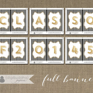 Graduation Banner INSTANT DOWNLOAD Gold Glitter Black & White Stripes Class of 2014 Printable PDF Bunting Sign DiY Digital Printable- Ashley
