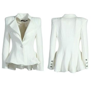 PEAPIX3 Women White Black Casual Suit One Button Blazer Jacket Swallowtail Style Hot = 1931774660