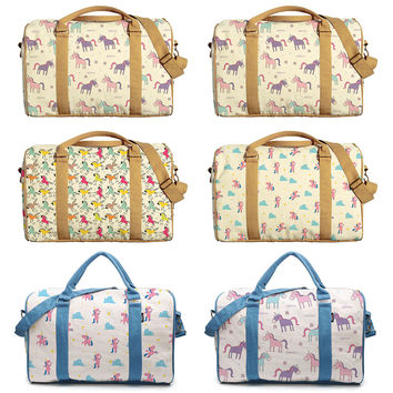 Unicorn Patterns Printed Oversized Canvas Duffle Luggage Travel Bag WAS_42
