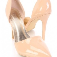 Beige Pointed Toe Single Sole D-Orsay Pump Heels Patent