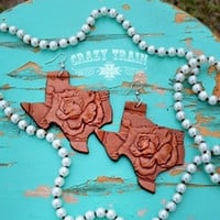 Hand Crafted Tooled Leather Texas Rose Earrings from Crazy Train