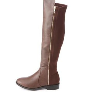 Stretchy Flat Knee-High Boots by from Charlotte Russe