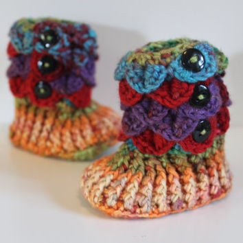 Rainbow Booties, 0-6 Month Baby Crocodile Stitch Slipper Booties, Ready To Ship