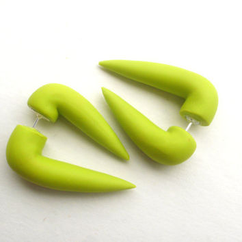 Chartreuse Sabertooth Fake Stretched Earring Lime by deceptions