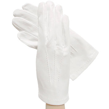 Men's White Italian Leather Gloves with Silk Lining - Formal & Debutante