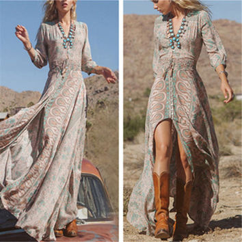 Sexy Boho V Neck Chiffon Floral Long Maxi Dress