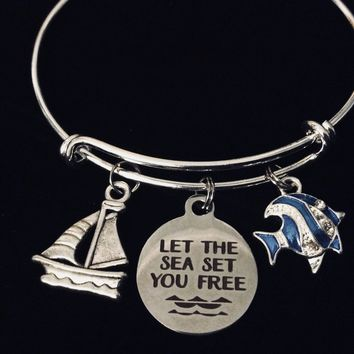 Let the Sea Set you Free Expandable Charm Bracelet Jewelry Sailboat Tropical Fish Silver Adjustable Bangle One Size Fits All Gift Trendy Stacking Nautical Jewelry