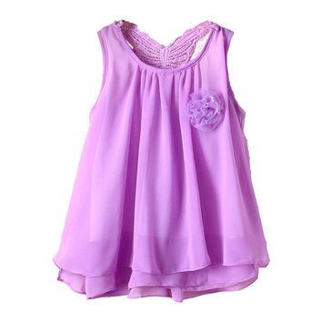 Toddler Baby Party Sundress Kids Girls Chiffon Vest Tutu Dress Tops Special Occasions